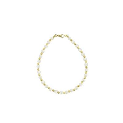 BRACELET OR JAUNE 375/00 PERLE DE CULTURE EAU DOUCE CHINE 3,5/4MM