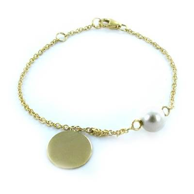 BRACELET OR JAUNE 750/00 PERLE DE CULTURE EAU DOUCE CHINE 6/6,5MM