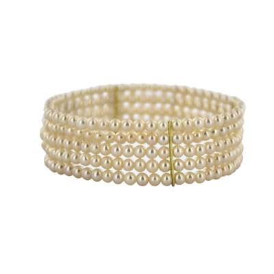 BRACELET ELASTIQUE OR JAUNE 750/00 PERLE D'EAU DOUCE CHINE 3,5/4MM