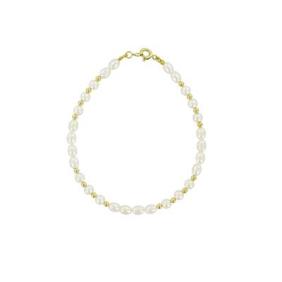 BRACELET OR JAUNE 375/00 PERLE DE CULTURE EAU DOUCE CHINE 4/4,5MM