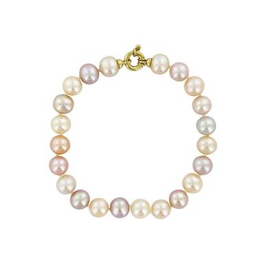 BRACELET OR JAUNE 750/00 PERLE DE CULTURE EAU DOUCE CHINE 7,5/8MM