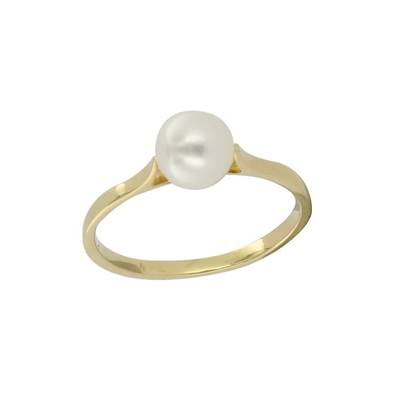 BAGUE OR JAUNE 750/00 PERLE DE CULTURE EAU DOUCE CHINE 6/6,5MM