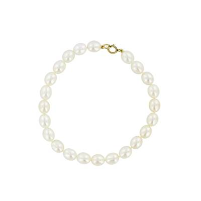 BRACELET OR JAUNE 375/00 PERLE DE CULTURE EAU DOUCE CHINE 6/6,5MM
