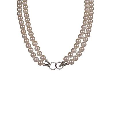 COLLIER OR GRIS 750/00 PERLE DE CULTURE EAU DOUCE CHINE 7,5/8MM