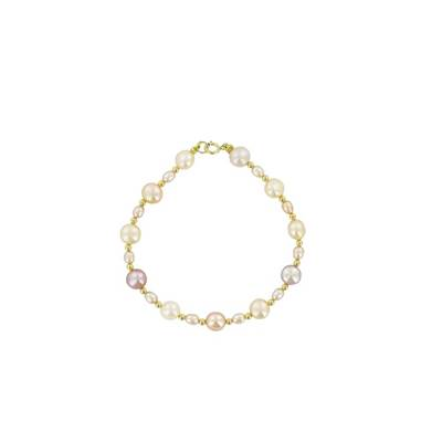 BRACELET OR JAUNE 375/00 PERLE DE CULTURE EAU DOUCE CHINE 7/7,5MM