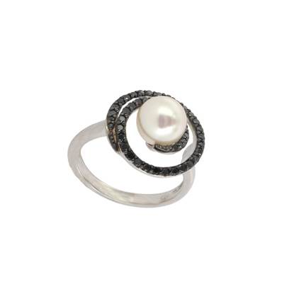 BAGUE OR GRIS 750/00 PERLE DE CULTURE AKOYA JAPON 7,5/8MM