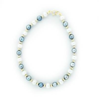 BRACELET OR JAUNE 375/00 PERLE DE CULTURE EAU DOUCE CHINE 4,5/5MM