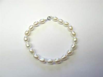 BRACELET OR GRIS 375/00 EAU DOUCE 6/6,5MM