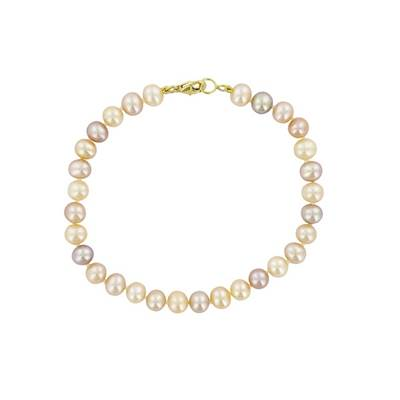BRACELET OR JAUNE 750/00 PERLE DE CULTURE EAU DOUCE CHINE 5/5,5MM