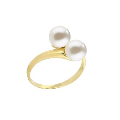 BAGUE OR JAUNE 750/00 PERLE DE CULTURE EAU DOUCE 6,5/7MM